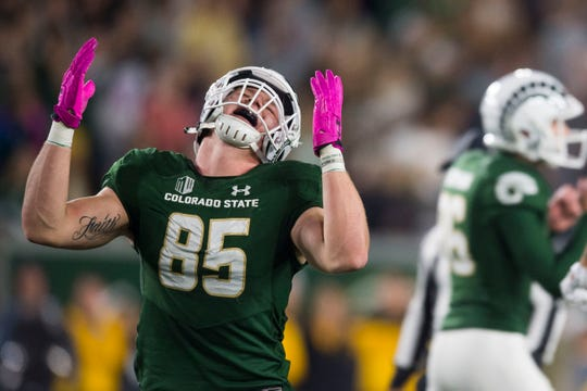 Colorado State University freshman tight end Trey McBride (85) reacts to a missed field goal by senior kicker Wyatt Bryan (96) just before halftime during a game against the University of Wyoming on Friday, Oct. 26, 2018, at Canvas Stadium in Fort Collins, Colo.