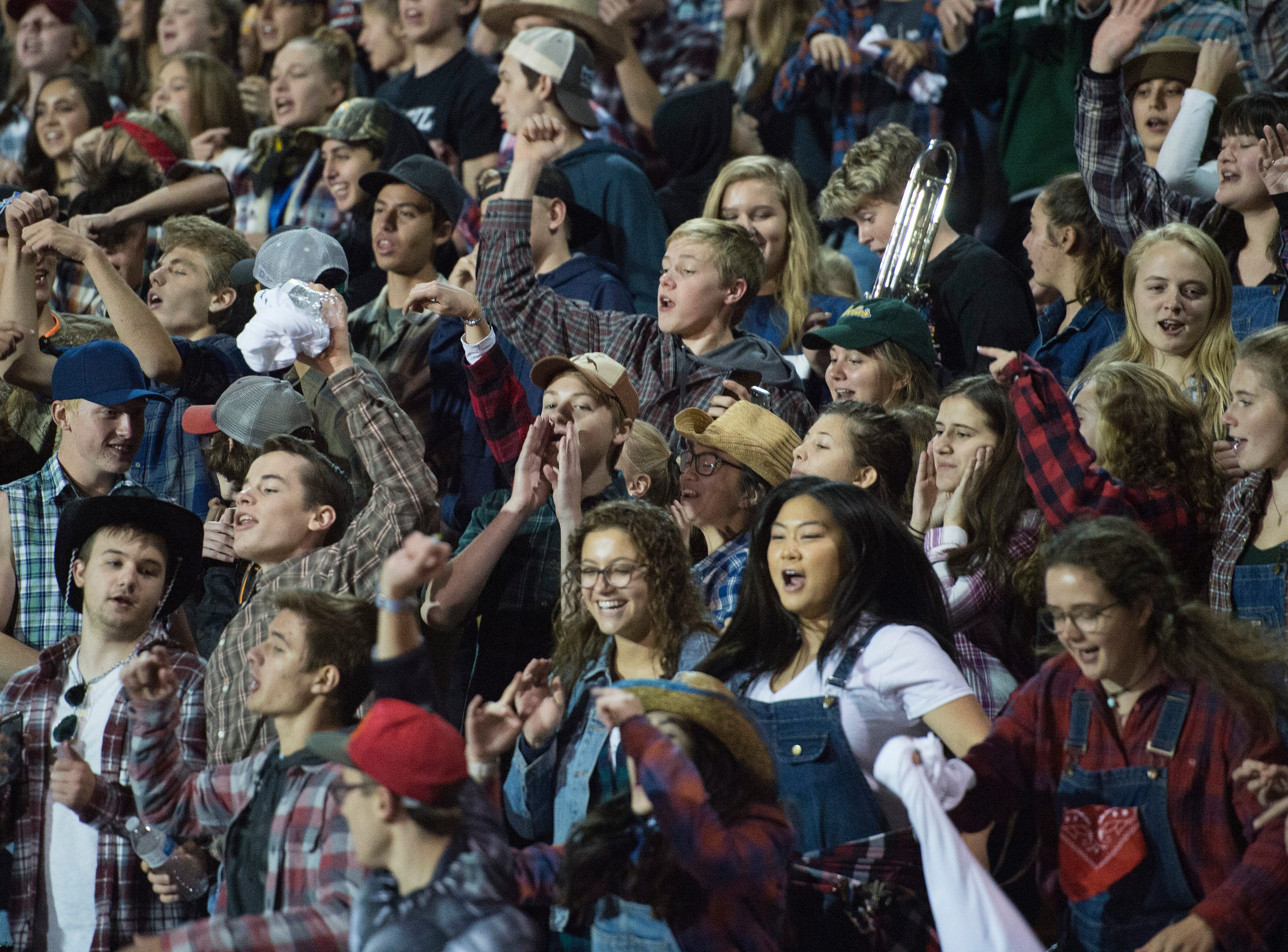 Fossil Ridge High School students cheer for the SaberCats during a game against Poudre at French Field on Friday, October 26, 2018.