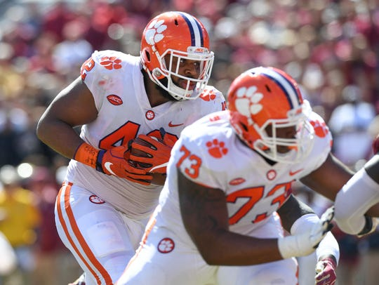 Clemson defensive lineman Christian Wilkins (42) scores against Florida State during the 2nd quarter Saturday, October 27, 2018 at Florida State's Doak Campbell Stadium in Tallahassee, Fl.