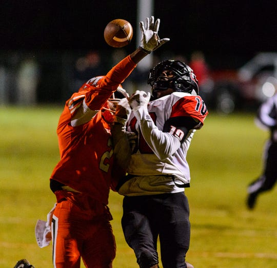 Mauldin's Andru Phillips (2)  breaks up a pass intended for Hillcrest's Quendarius Jefferson (10) Friday, October 26, 2018 at Mauldin's Freeman Field.