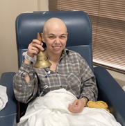 Dr. Sharon Ben-Or rings the bell at her last chemotherapy treatment