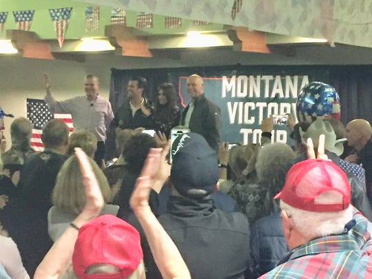 Montana Republicans were urged at a rally Friday to get  out an vote. From left, Republican candidate Matt Rosendale, Donald Trump Jr., Kim Guilfoyle and candidate Greg Gianforte.