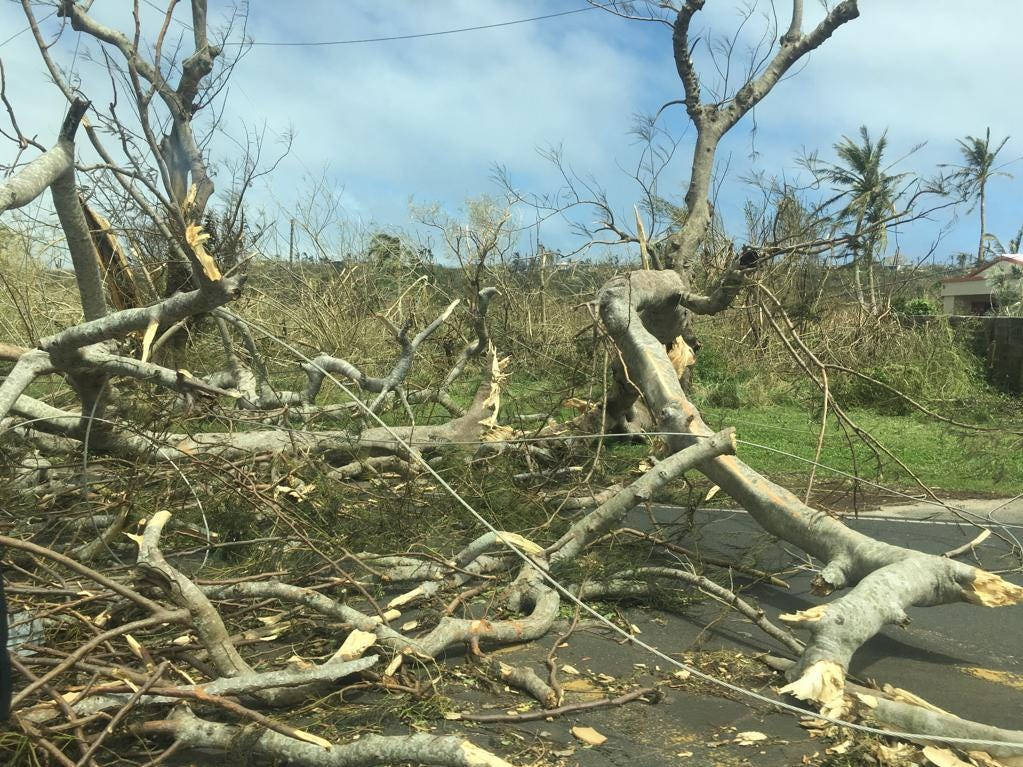 Damage caused by Typhoon Yutu as it passed through Saipan Oct. 25, 2018. Coast Guard crews continue to respond and assess damages.