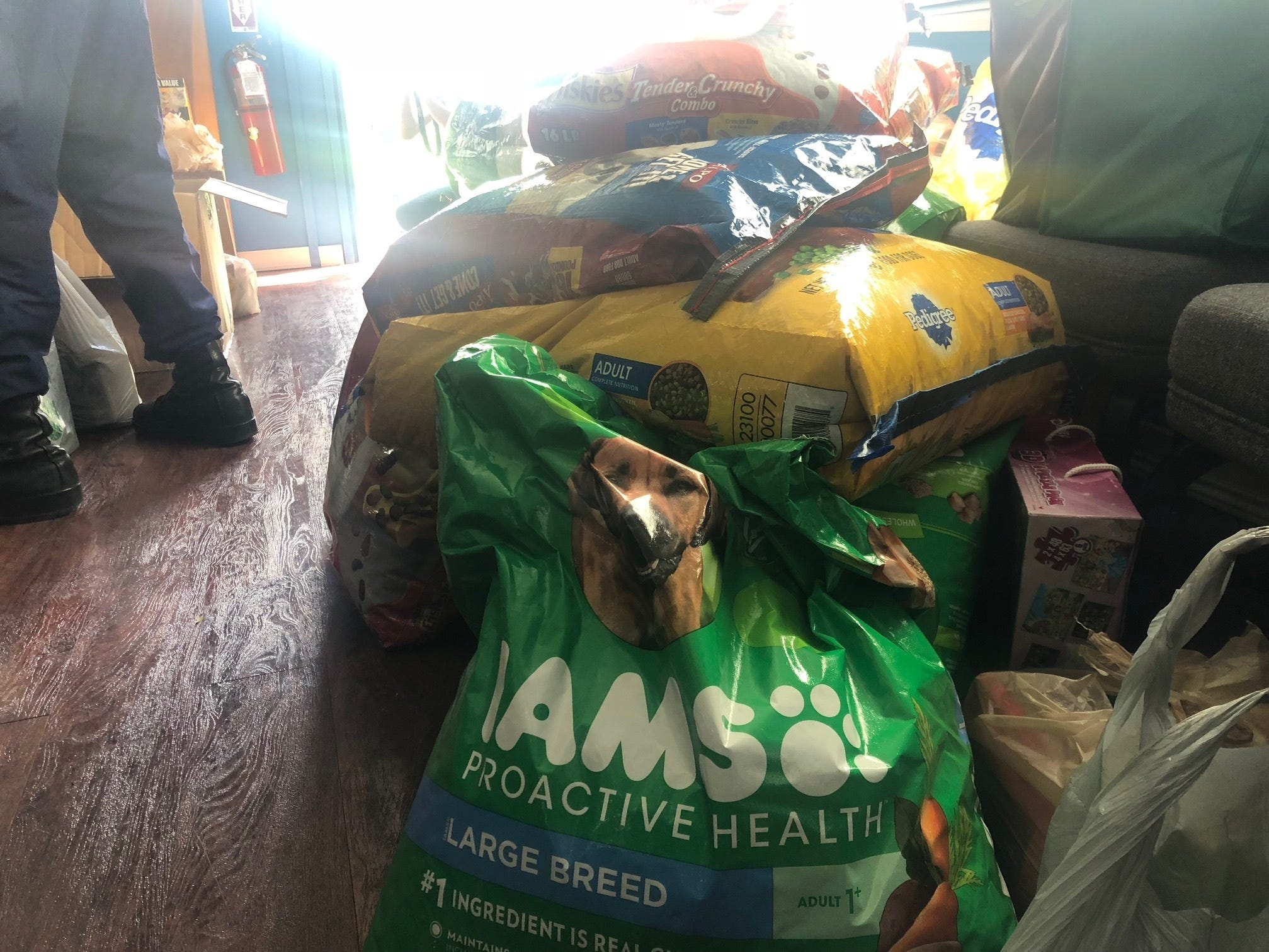 Bags of dog food wait to be loaded and taken to Saipan in response to Typhoon Yutu, Oct. 26, 2018. Members of the community on Guam donated many different supplies to be sent for relief efforts of those effected on Saipan.