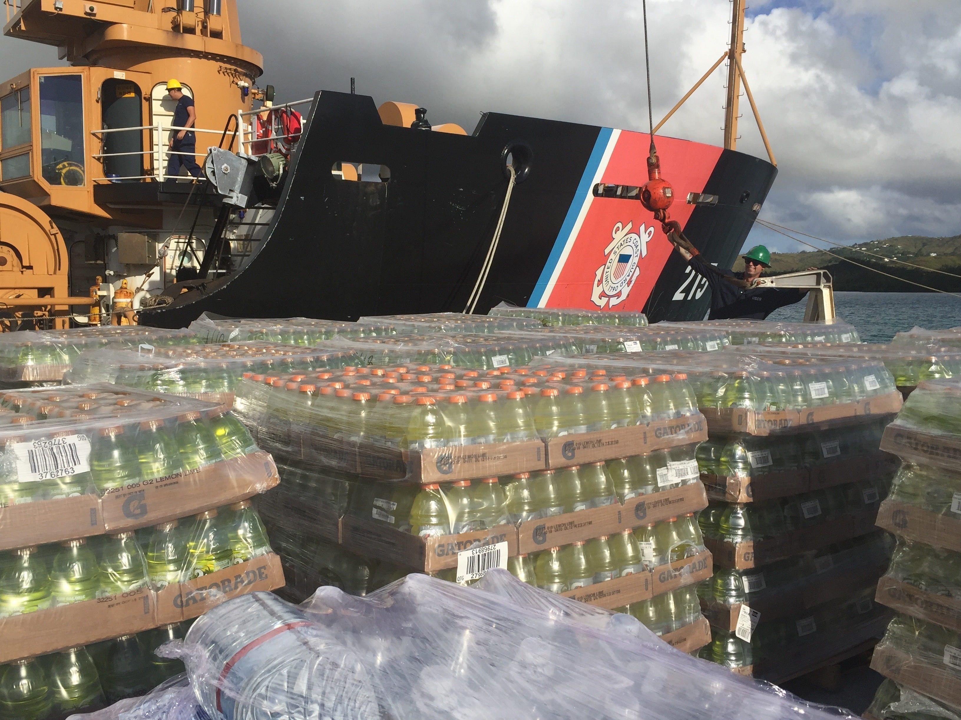 Crewmembers from U.S. Coast Guard Cutter Sequoia (WLB 215), based out of Guam, load the vessel with supplies to take to Saipan, Oct. 26, 2018. The crew will be transporting donated goods from the community to those effected by Typhoon Yutu.