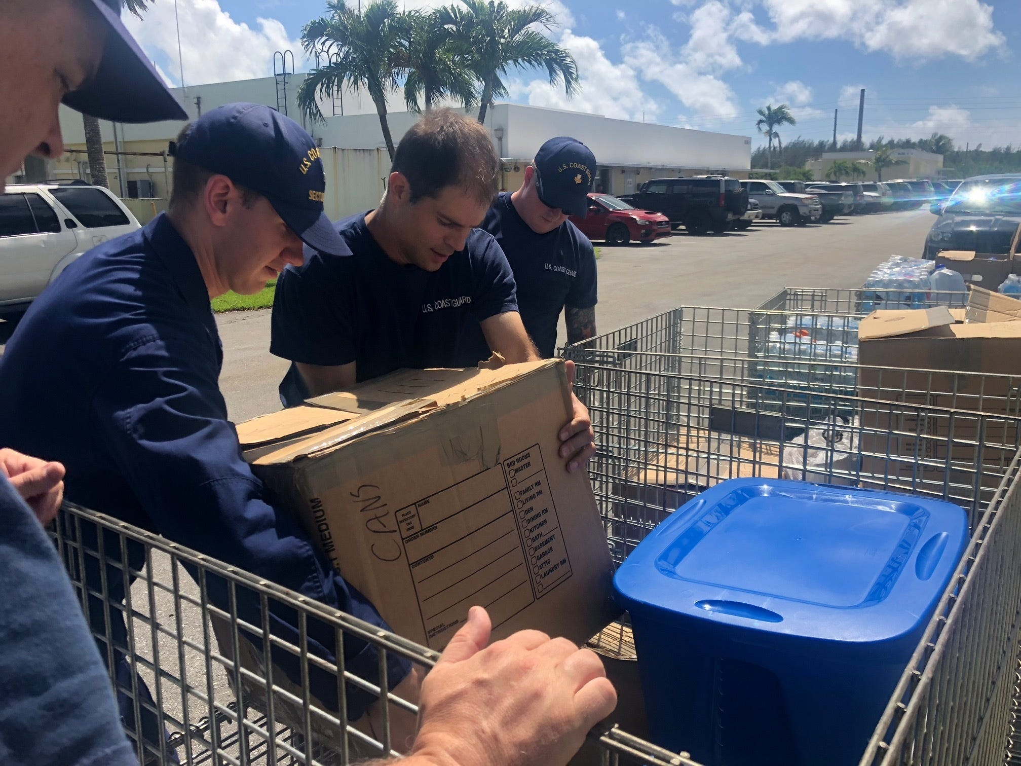 Crewmembers from Coast Guard Sector Guam prepare supplies to be sent to Saipan, Oct. 26, 2018. Members of the community on Guam donated many different supplies to be sent for relief efforts to those effected by Typhoon Yutu.