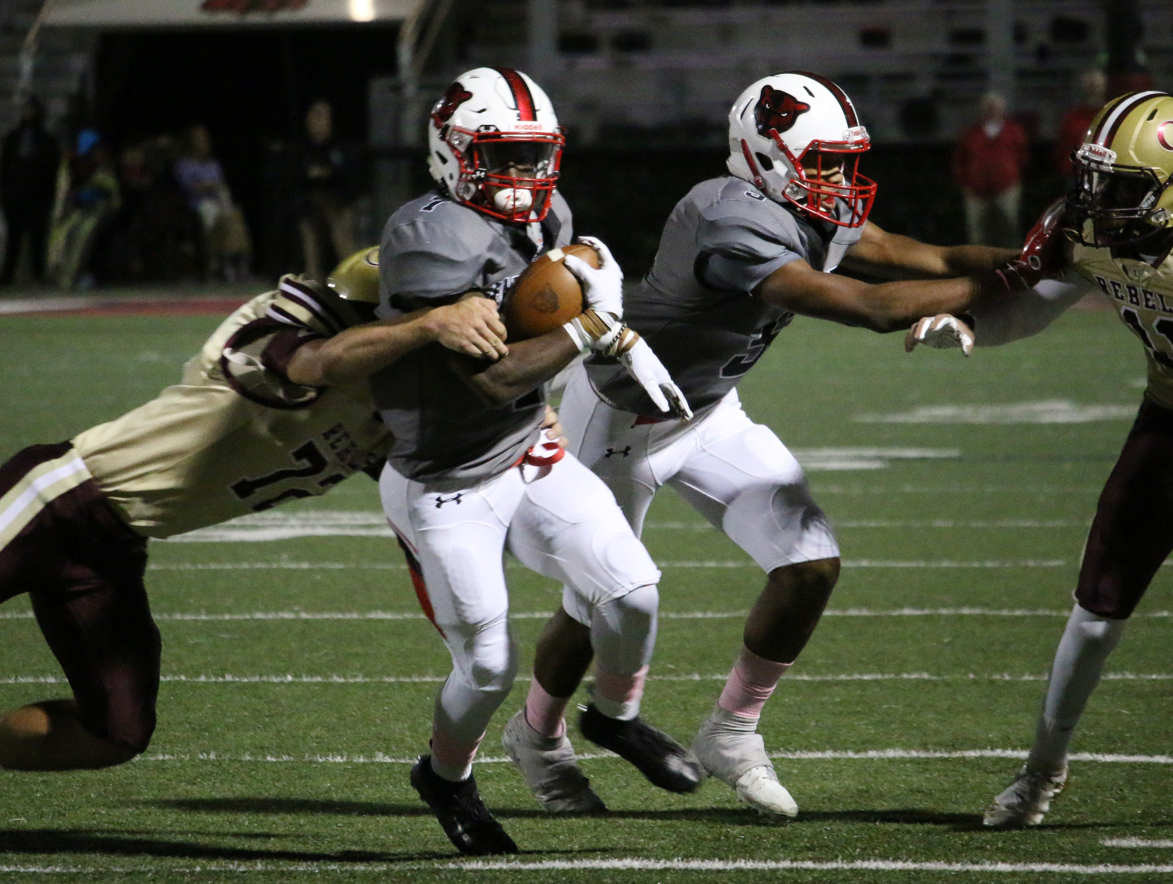 Petal's Rashad Handford rushes down the sideline against George County on Friday.