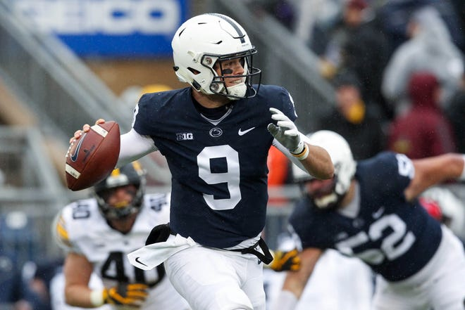 Oct 27, 2018; University Park, PA, USA; Penn State Nittany Lions quarterback Trace McSorley (9) looks to throw a pass during the first quarter against the Iowa Hawkeyes at Beaver Stadium. Mandatory Credit: Matthew O'Haren-USA TODAY Sports