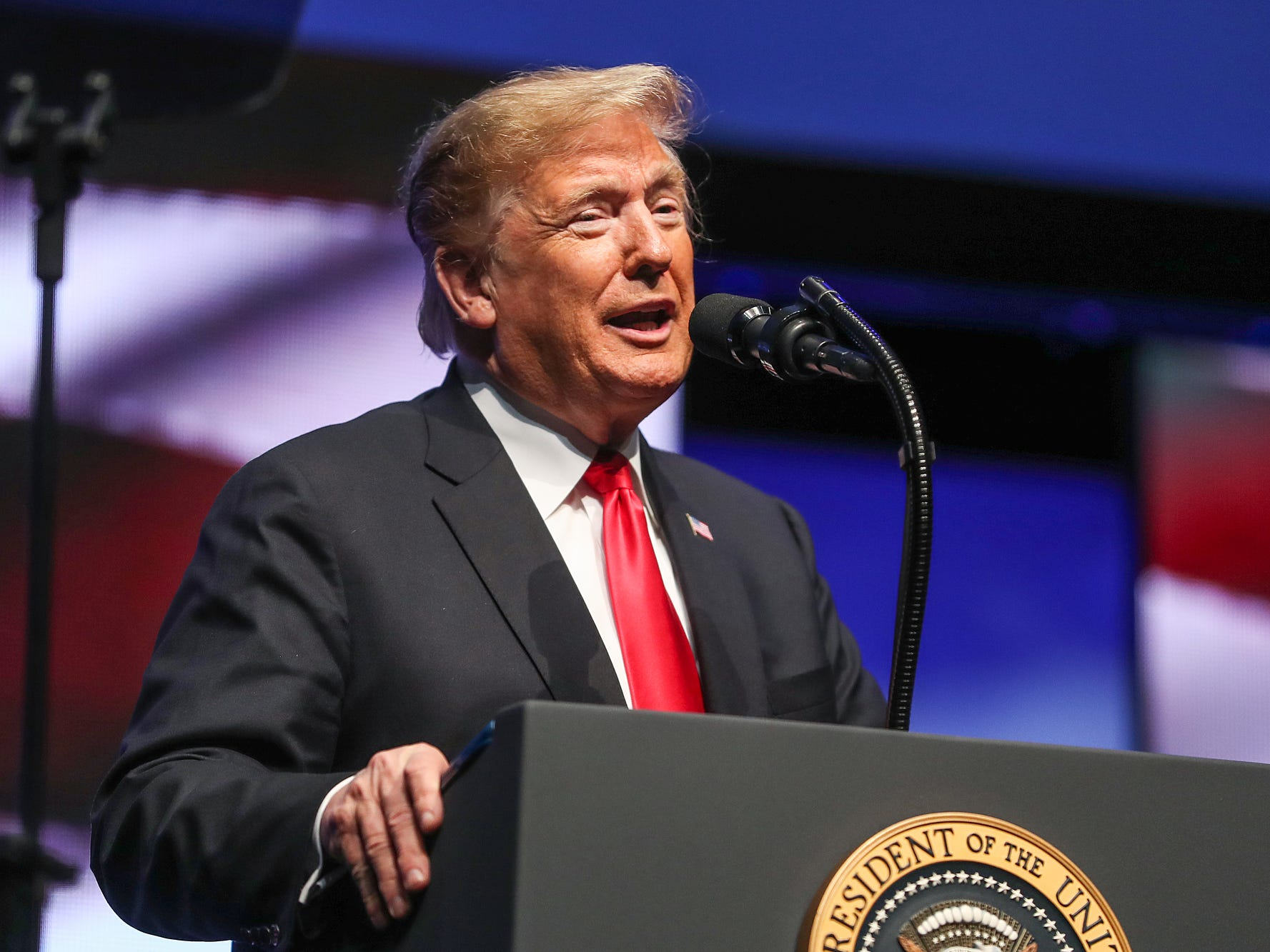 United States President Donald Trump speaks at the annual Future Farmers of America Convention and Expo at Banker's Life Fieldhouse in Indianapolis, Saturday, Oct. 27, 2018.