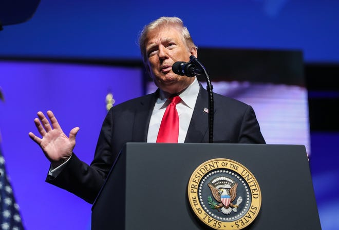 President Donald Trump speaks to the National FFA Organization's annual convention at Bankers Life Fieldhouse in Indianapolis, Saturday, Oct. 27, 2018.