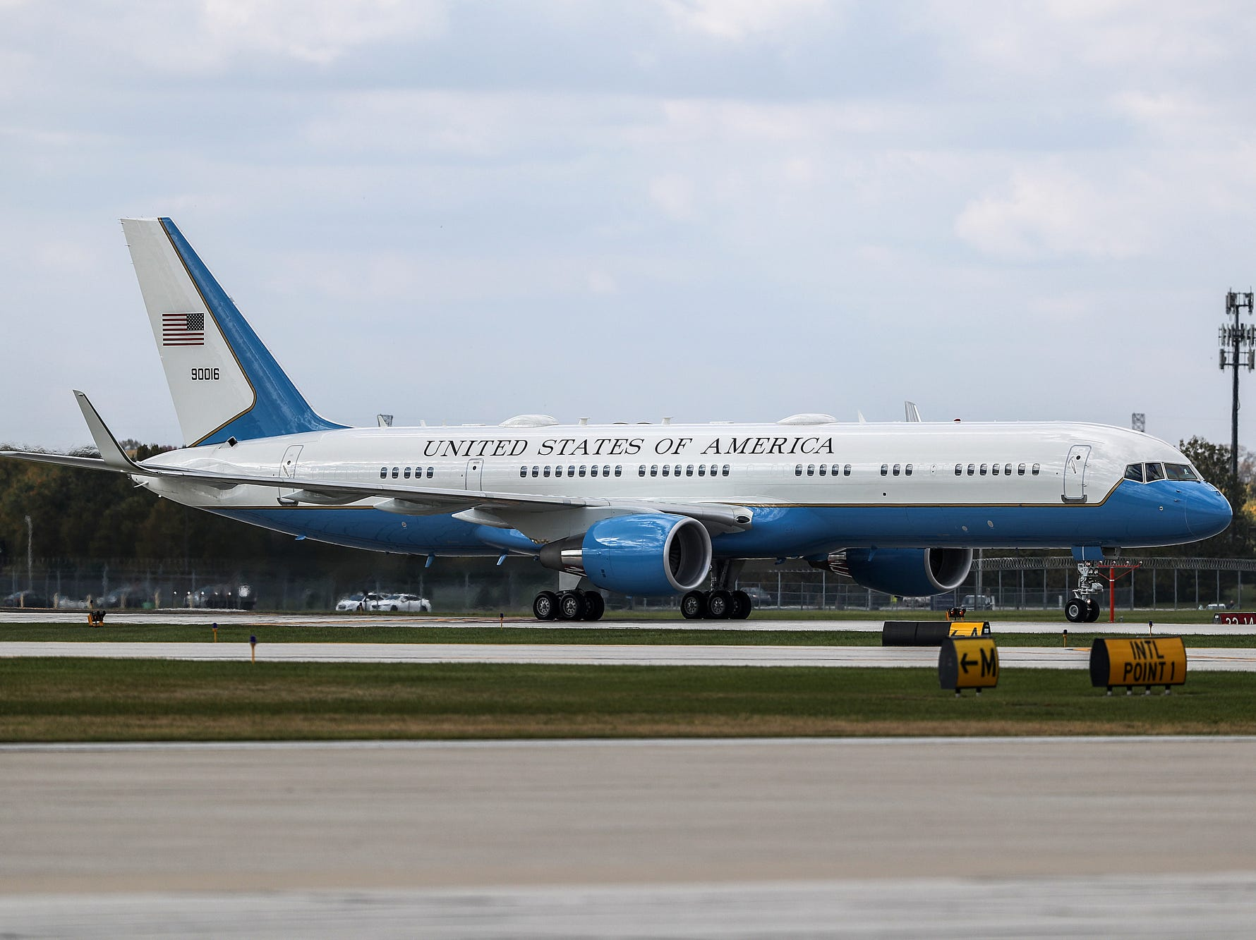 Air Force One arrives at Indianapolis International Airport, where Donald Trump arrived to speak at the annual Future Farmers of America Convention and Expo at Banker's Life Fieldhouse, Saturday, Oct. 27, 2018.