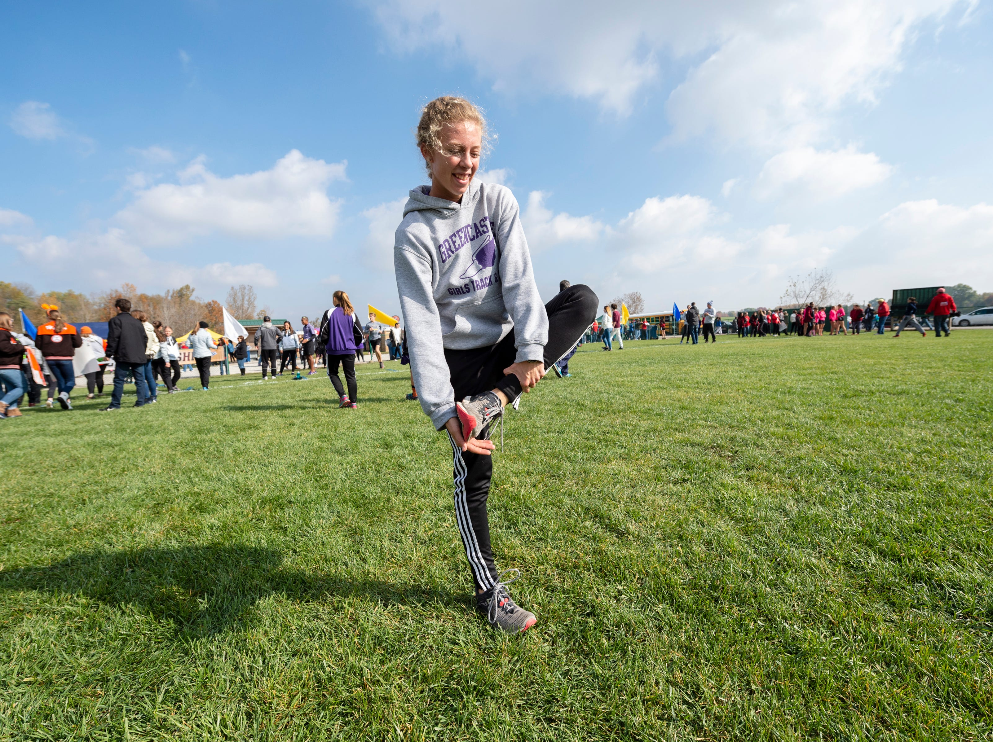 Greencastle High School runner Emma Wilson warm-up before the running of the IHSAA Boys' and Girls' Cross Country State Finals meet Saturday, Oct. 27, 2018, at The Lavern Gibson Championship Cross Country Course at Terre Haute.