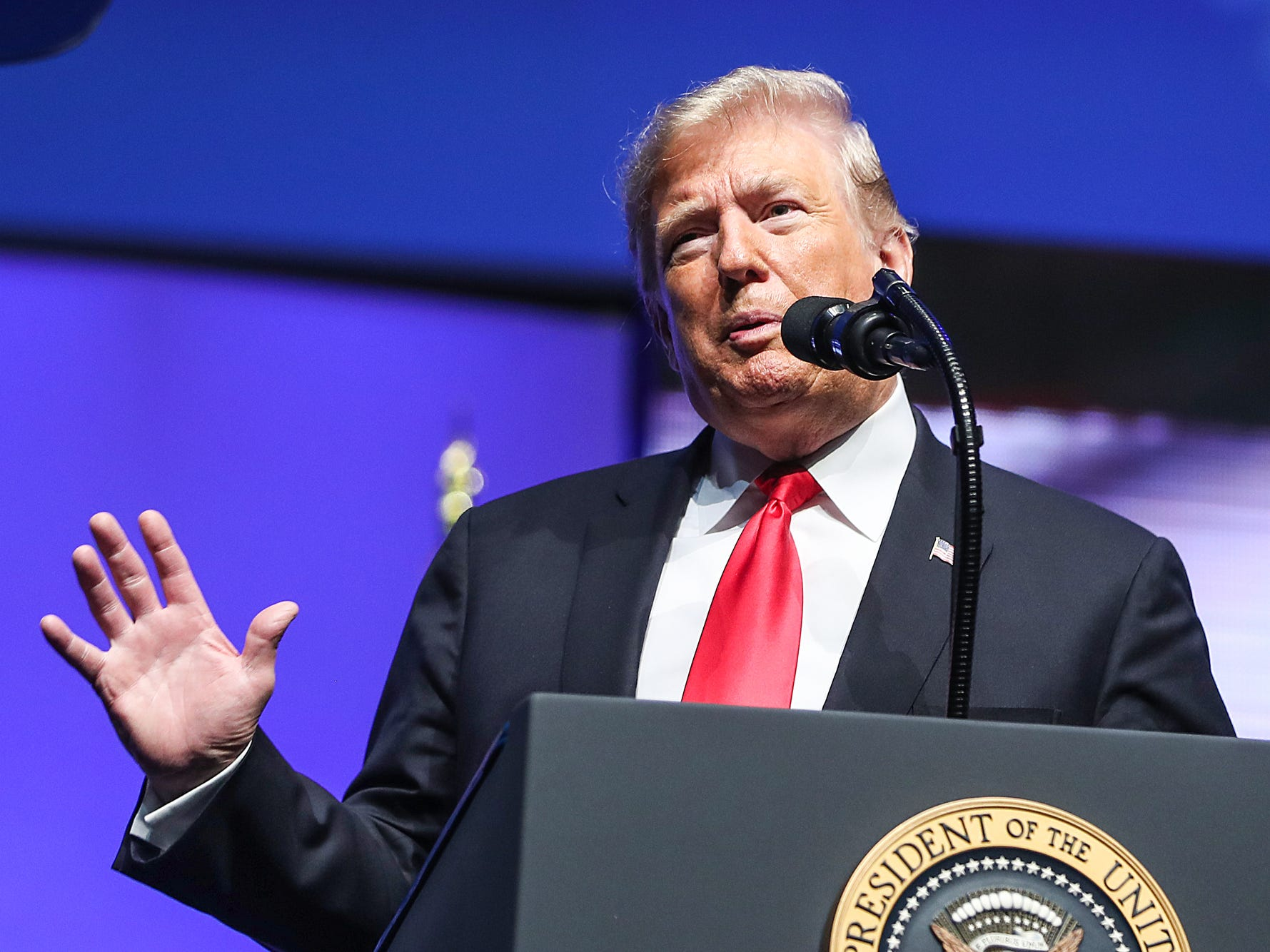 United States President Donald Trump speaks to attendees of the annual Future Farmers of America Convention and Expo at Banker's Life Fieldhouse in Indianapolis, Saturday, Oct. 27, 2018.