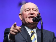 United State Secretary of Agriculture Sonny Perdue introduces President Donald Trump at the annual Future Farmers of America Convention and Expo at Banker's Life Fieldhouse in Indianapolis, Saturday, Oct. 27, 2018.