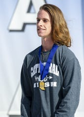 Cathedral High School runner Cole Hocker won the IHSAA Boys' Cross Country State Finals meet Saturday at The Lavern Gibson Championship Cross Country Course at Terre Haute.