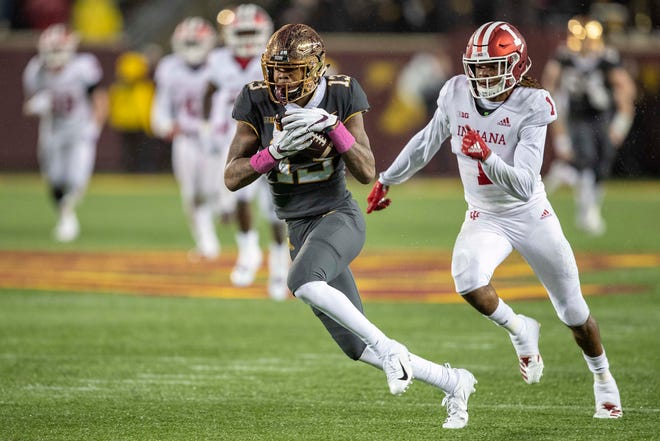 Minnesota Golden Gophers wide receiver Rashod Bateman (13) catches a touchdown pass in the second half against the Indiana Hoosiers at TCF Bank Stadium.