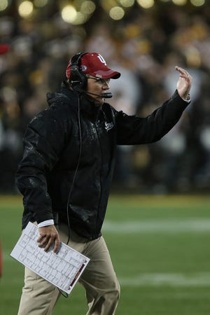 Indiana coach Tom Allen gestures during an NCAA college football game against Minnesota,, Oct. 26, 2018, in Minneapolis.