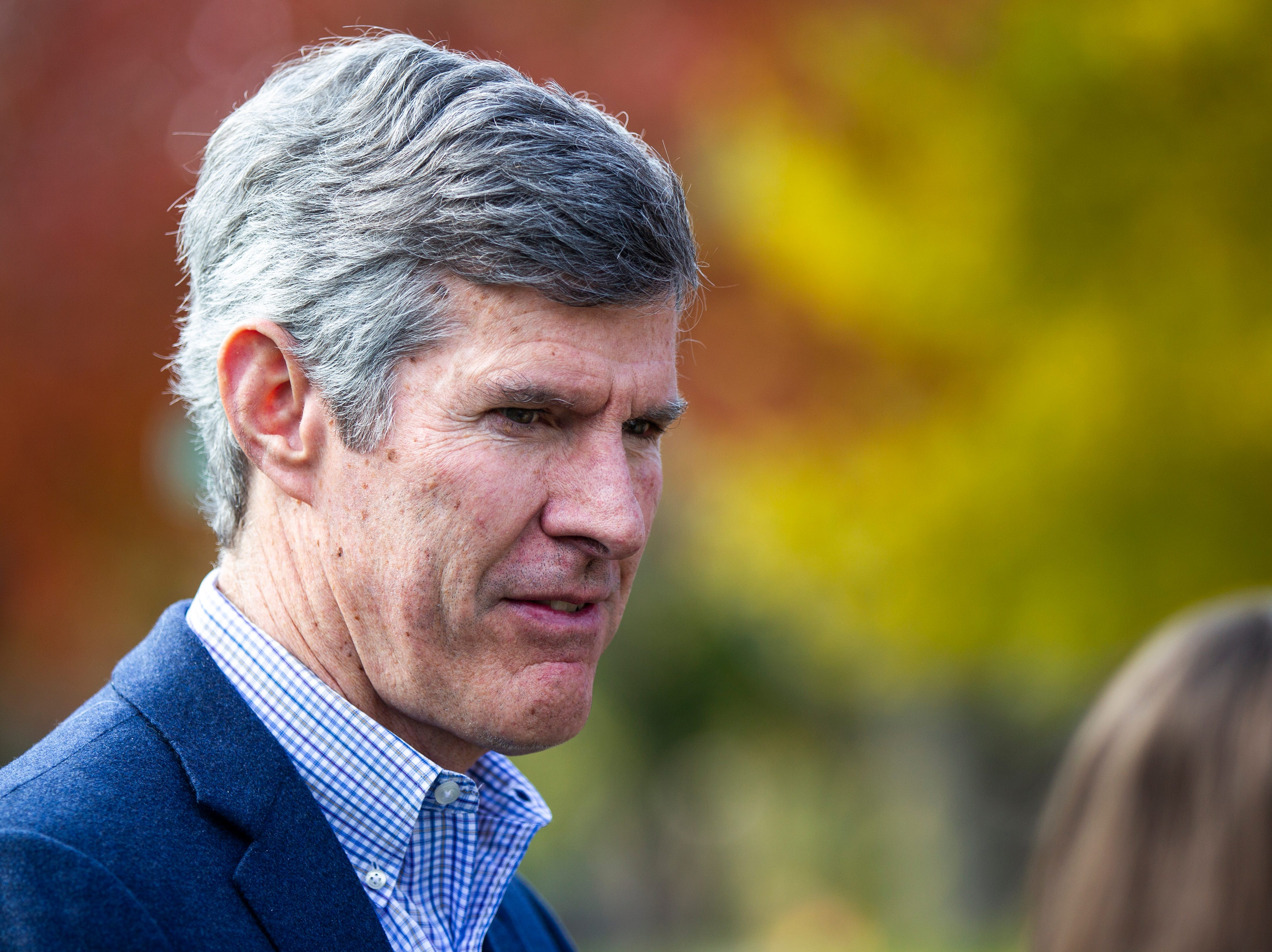 Fred Hubbell, Democratic Iowa gubernatorial candidate, speaks with reporters after meeting with volunteers on Saturday, Oct. 27, 2018, on the east side of Iowa City.