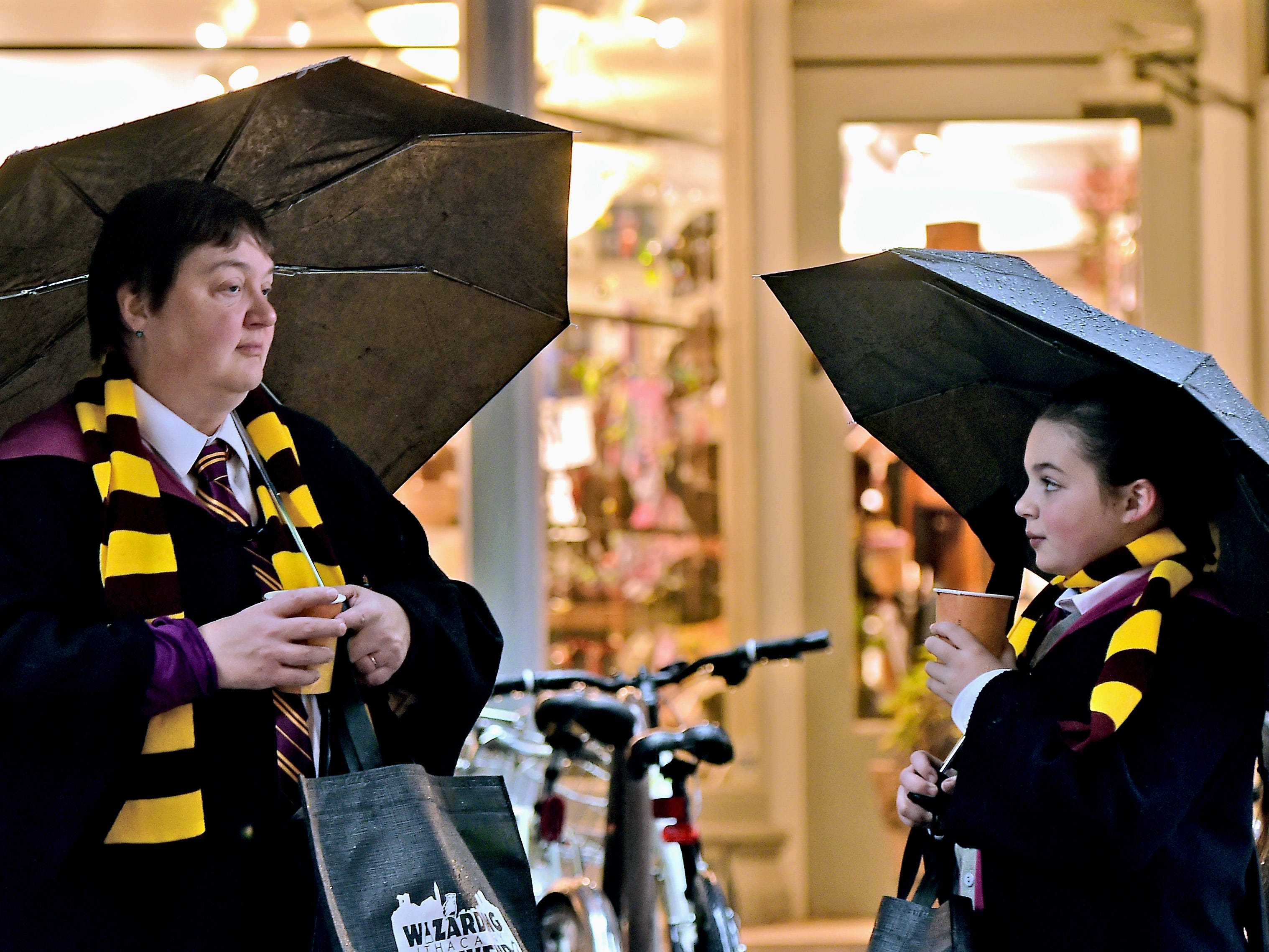 Andrea Falco and her daugther Annika Falco of Cobleskill, NY, during Wizarding Weekend in downtown Ithaca on Saturday, October 27, 2018.