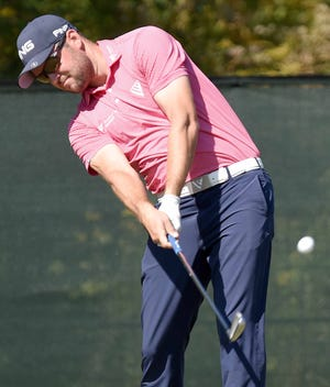 Corey Conners hits his drive on the 10 hole on Saturday, October 27, 2018, in the third round of the Sanderson Farms Championship at the Country Club of Jackson in Jackson, Miss.