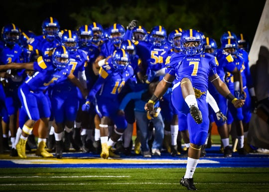 Velma Jackson players hit the field before their game against Raleigh during held Friday October 26, 2018 in Camden, Mississippi.(Photo/Bob Smith-For the Clarion Ledger)