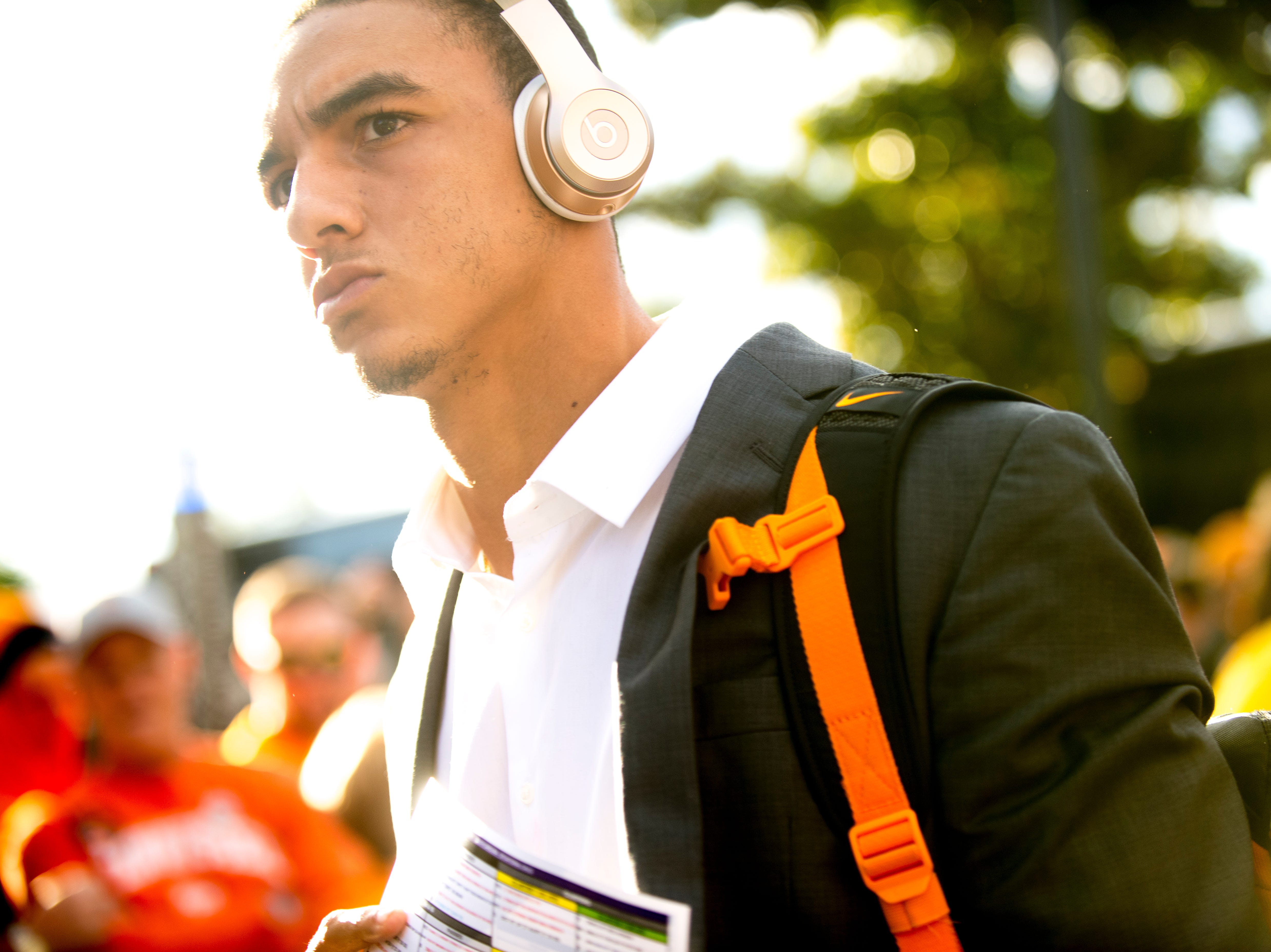 Tennessee quarterback Jarrett Guarantano (2) arrives to the stadium before a game between Tennessee and South Carolina at Williams-Brice Stadium in Columbia, South Carolina on Saturday, October 27, 2018.