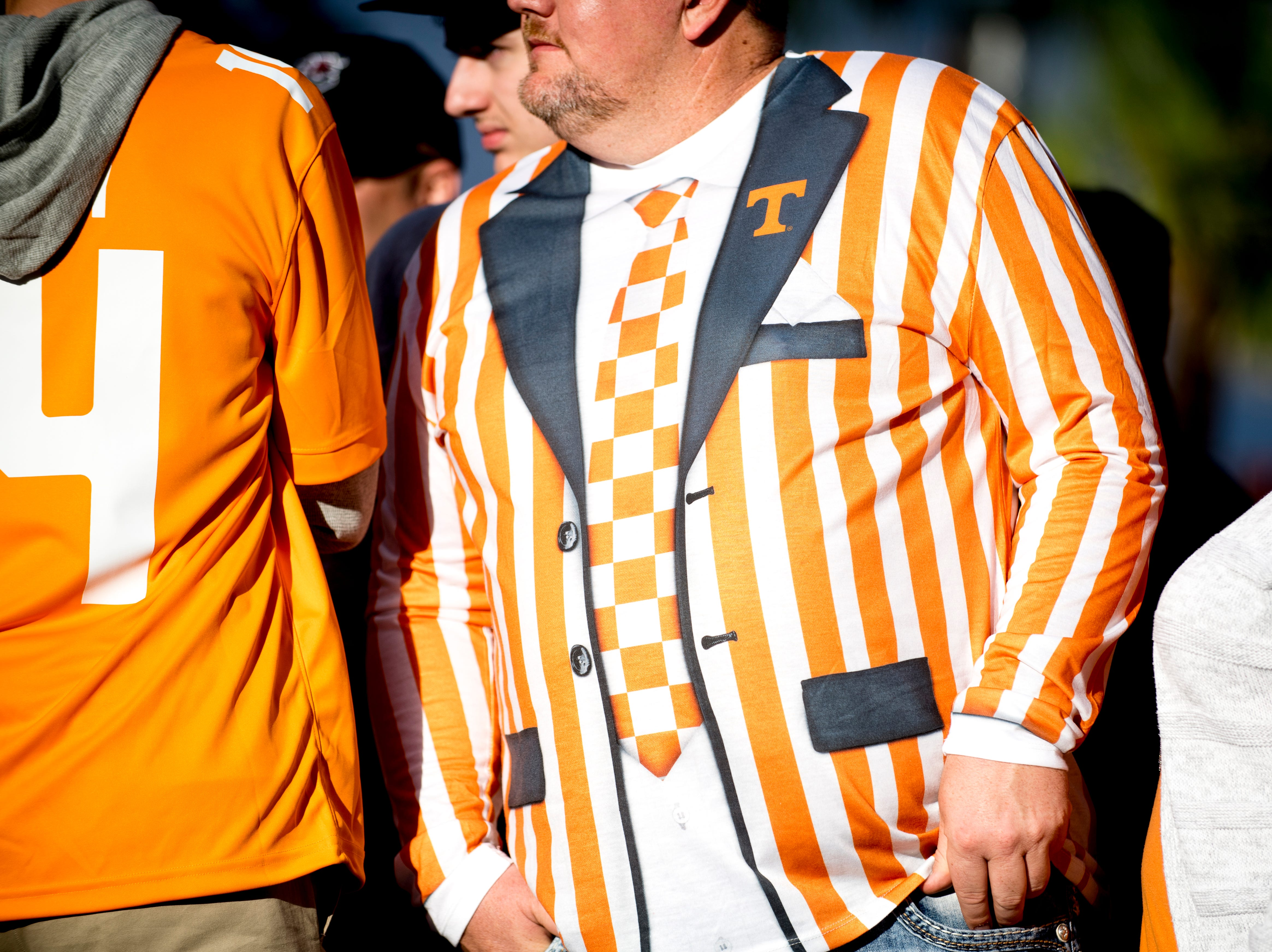 A Vol fans sports a tuxedo short before a game between Tennessee and South Carolina at Williams-Brice Stadium in Columbia, South Carolina on Saturday, October 27, 2018.