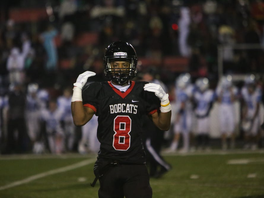 Central's Daunte Holliday (8) gives a sign to his coaches during the Central versus Gibbs high school football game at Central high school in Knoxville Friday Oct. 26, 2018.