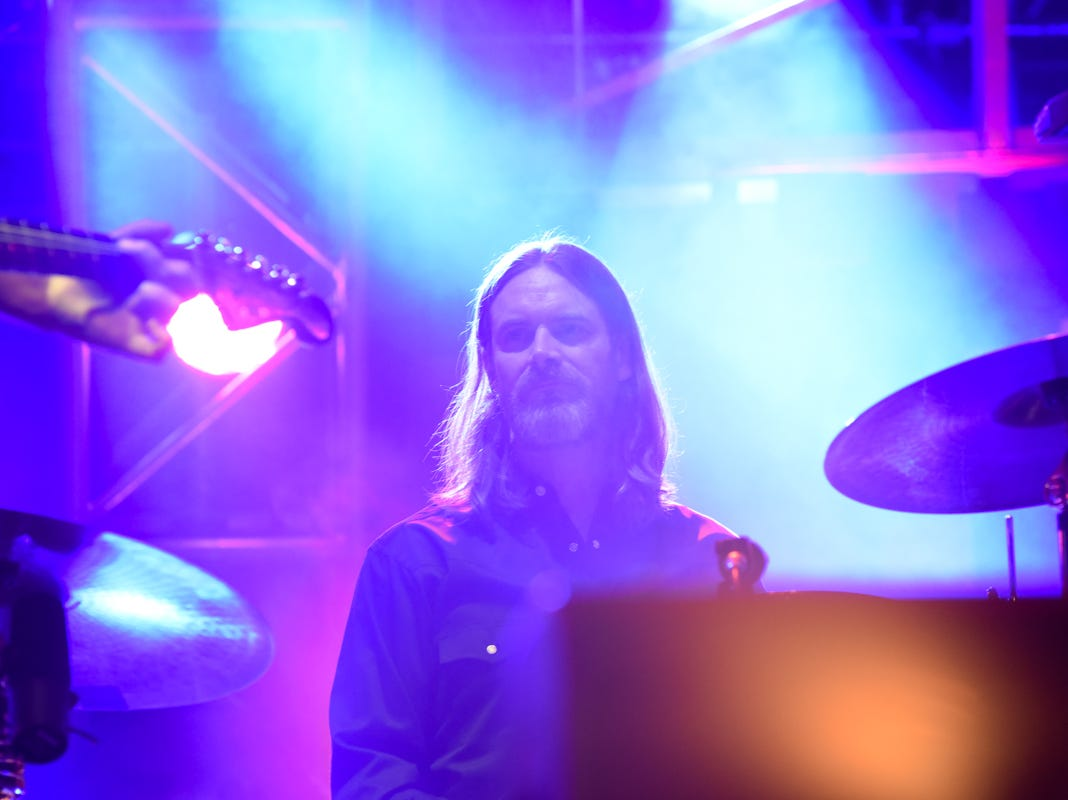 The drummer for Chris Stapleton performs with the band at Thompson Boling Arena in Knoxville on Friday, Oct. 26, 2018.