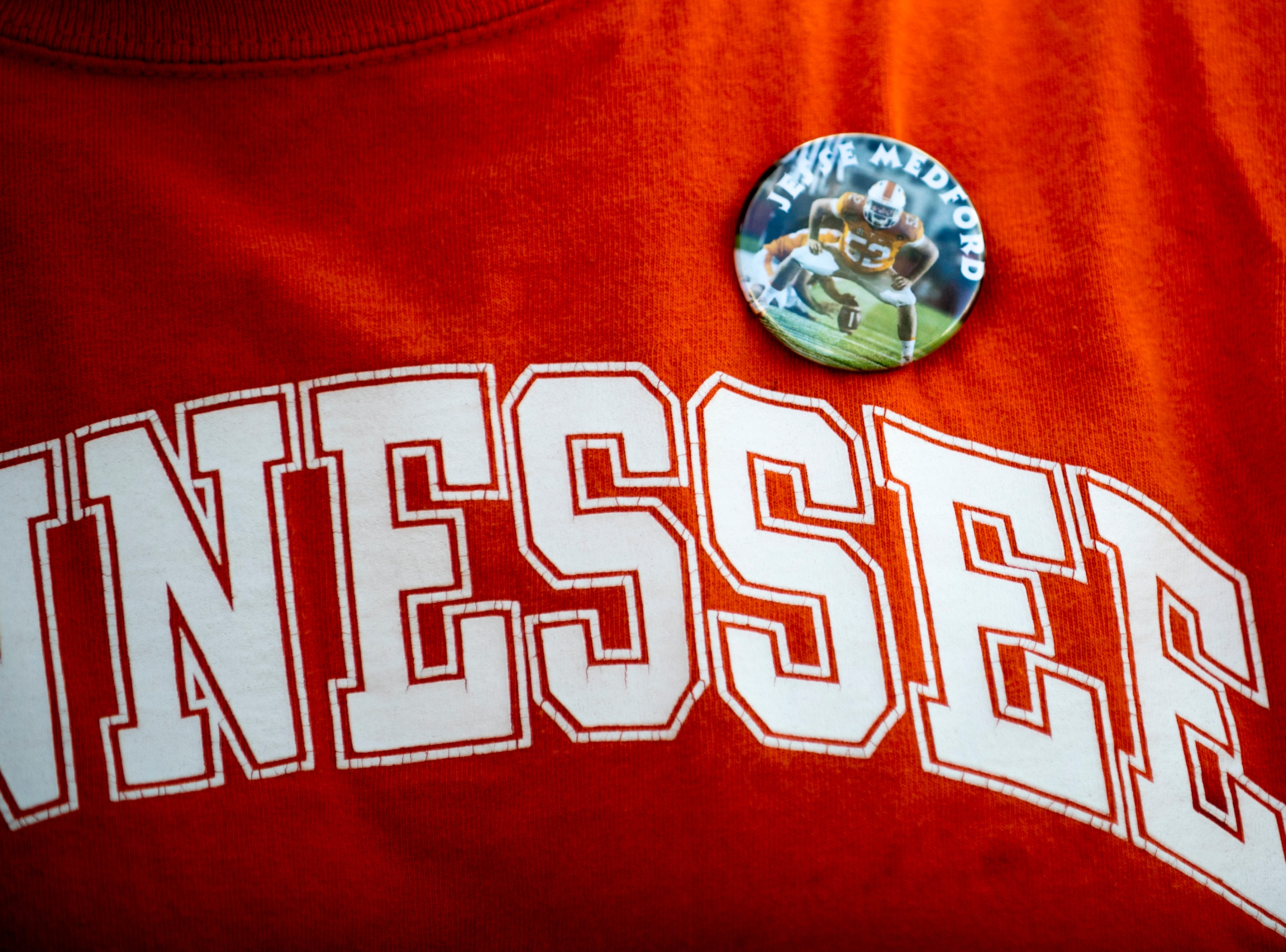 A Tennessee fan wears a Jesse Medford pin during a game between Tennessee and South Carolina at Williams-Brice Stadium in Columbia, South Carolina on Saturday, October 27, 2018.