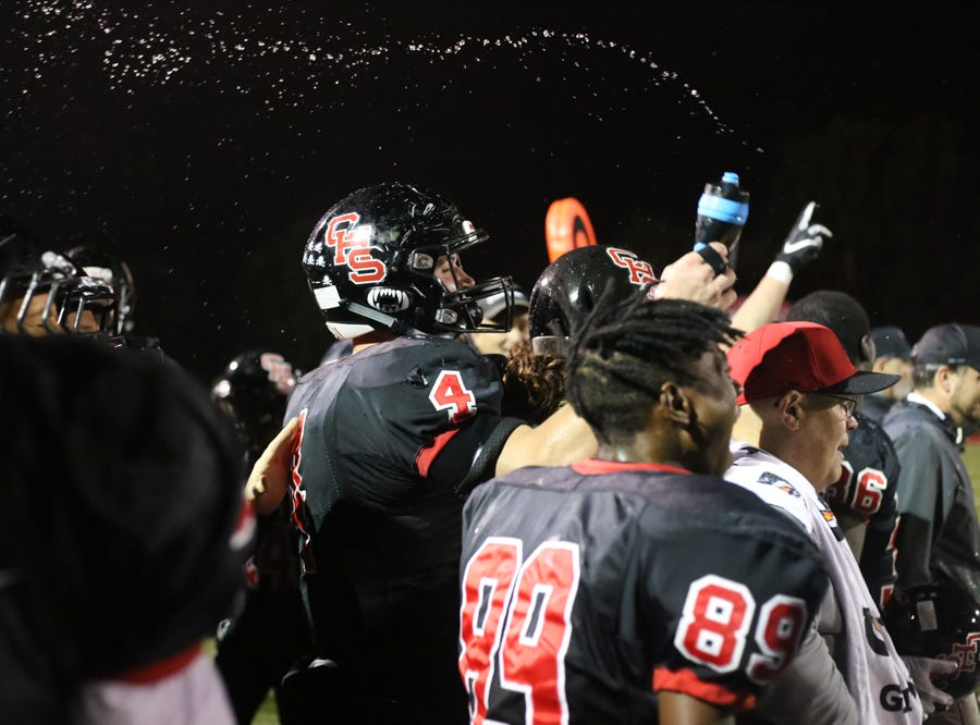 Central celebrates in the last minute of the game during the Central versus Gibbs high school football game at Central high school in Knoxville Friday Oct. 26, 2018.