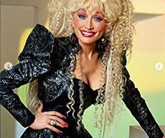 "This photo features Dolly Parton's wig that she calls ""Dragzilla."""