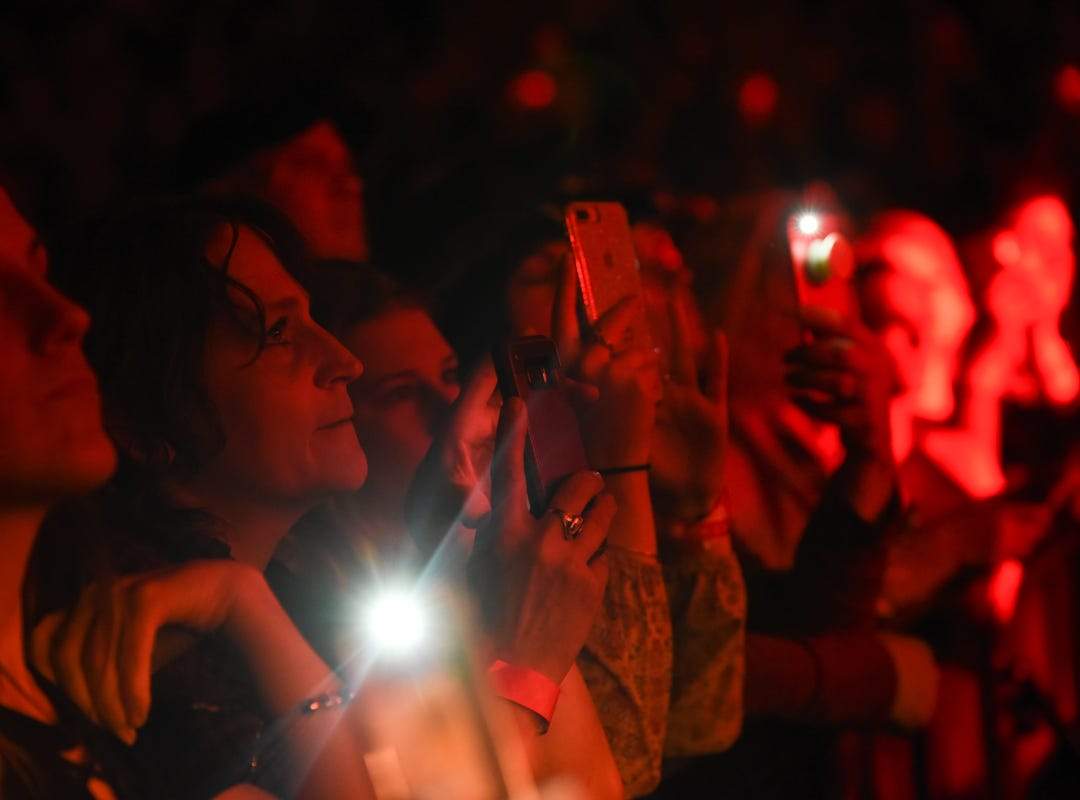 Fans record Chris Stapleton performing at Thompson Boling Arena in Knoxville on Friday, Oct. 26, 2018.
