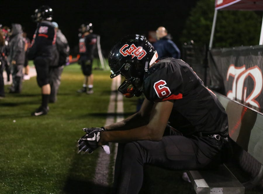 Central's Demetrien Johnson (6) rests during the Central versus Gibbs high school football game at Central high school in Knoxville Friday Oct. 26, 2018.