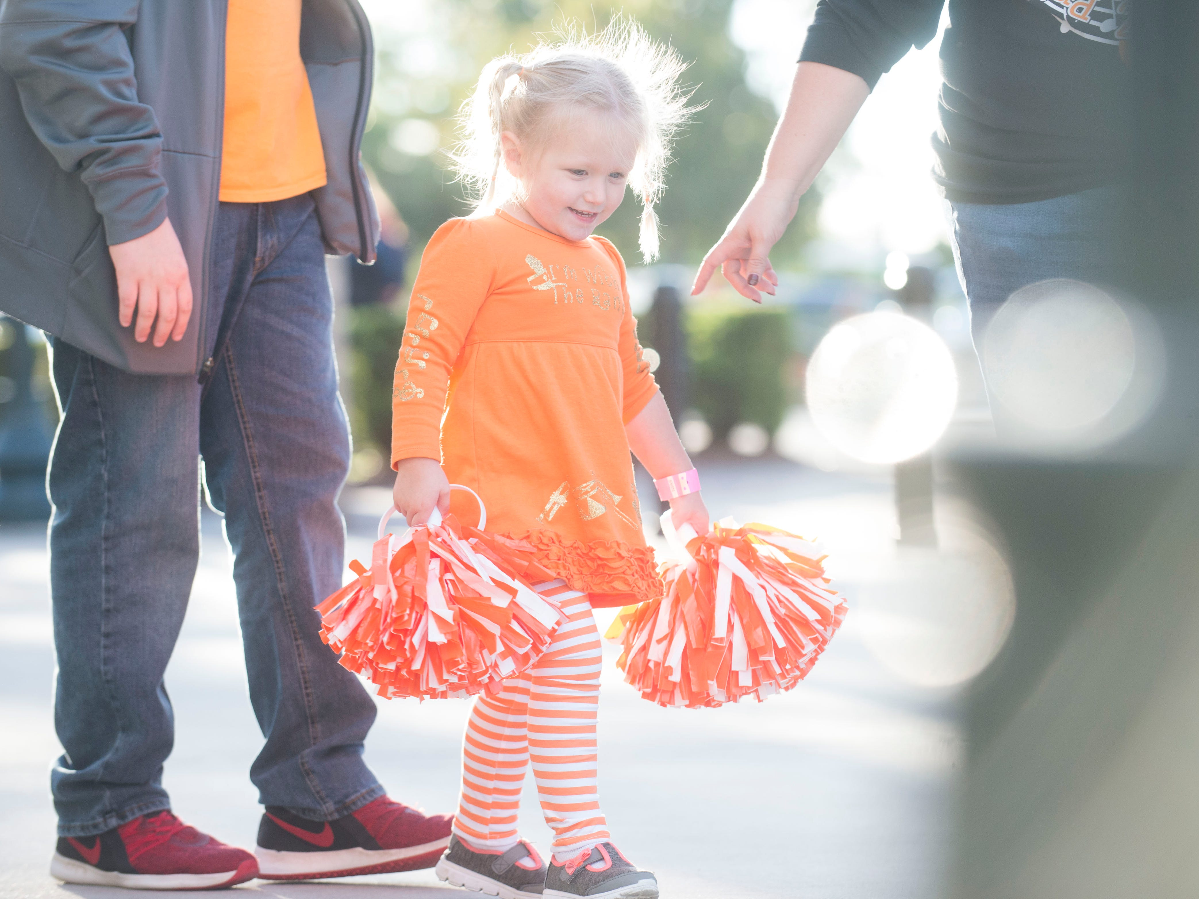 Taylor Caldwell, 2, of Brunswick, Ga. walks around before a game between Tennessee and South Carolina at Williams-Brice Stadium Saturday, Oct. 27, 2018. Taylor's sister is in the Pride of the Southland Band.