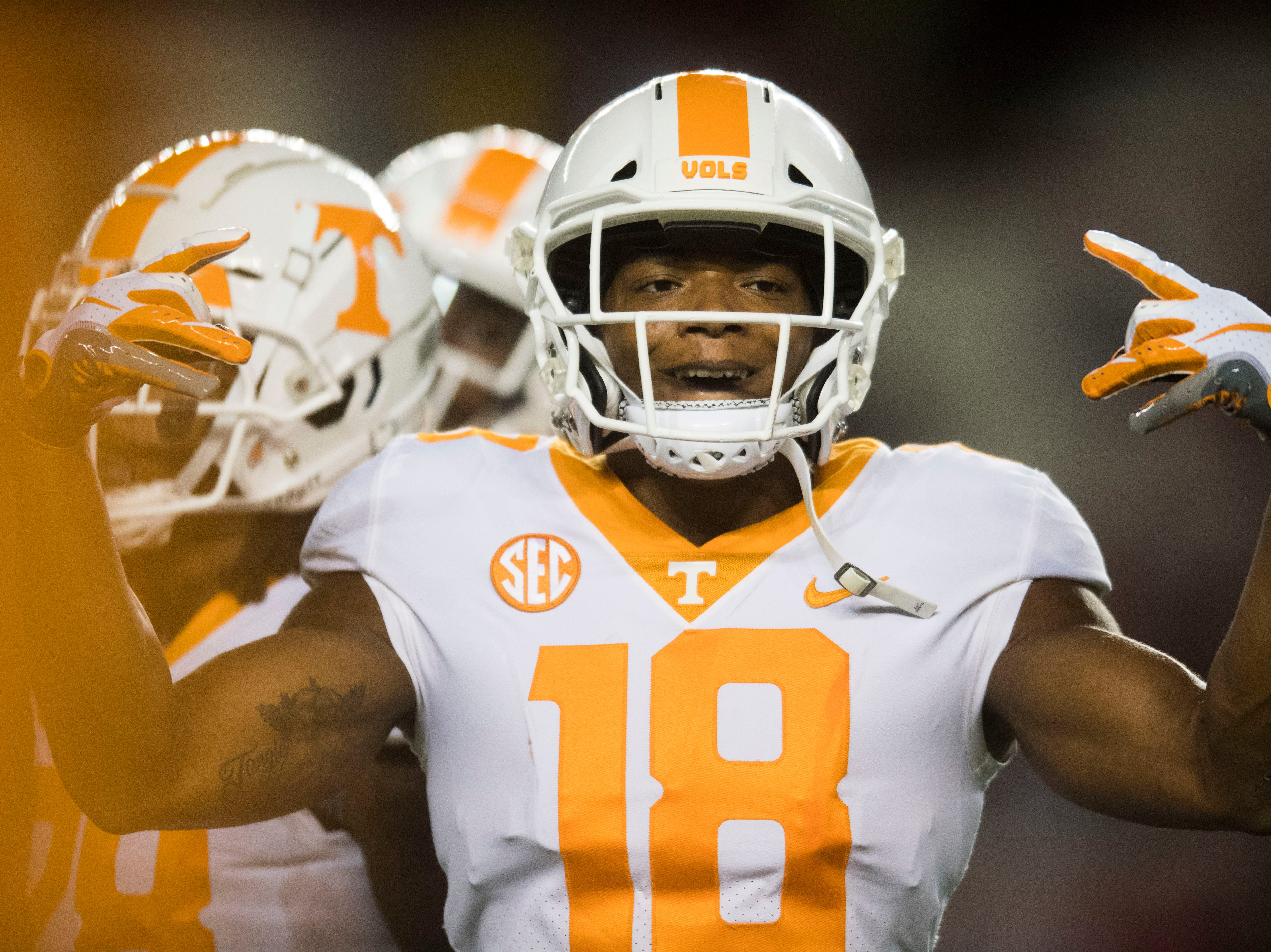 Tennessee defensive back Nigel Warrior (18) dances on the field before a game between Tennessee and South Carolina at Williams-Brice Stadium Saturday, Oct. 27, 2018.