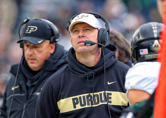 Purdue Boilermakers head coach Jeff Brohm stands on the field during the first half of a game against the Michigan State Spartans at Spartan Stadium on Oct. 27, 2018.