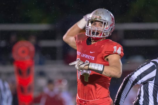 Yanni Karlaftis calls first down WL after a first half fumble recovery in the second round of the sectional between West Lafayette and Twin Lakes