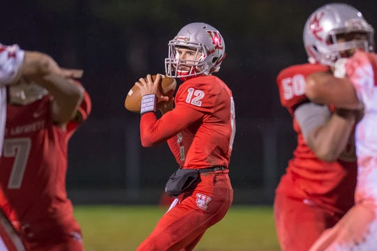 Kyle Adams surveys the field in the first half of the second round of the sectional between West Lafayette and Twin Lakes
