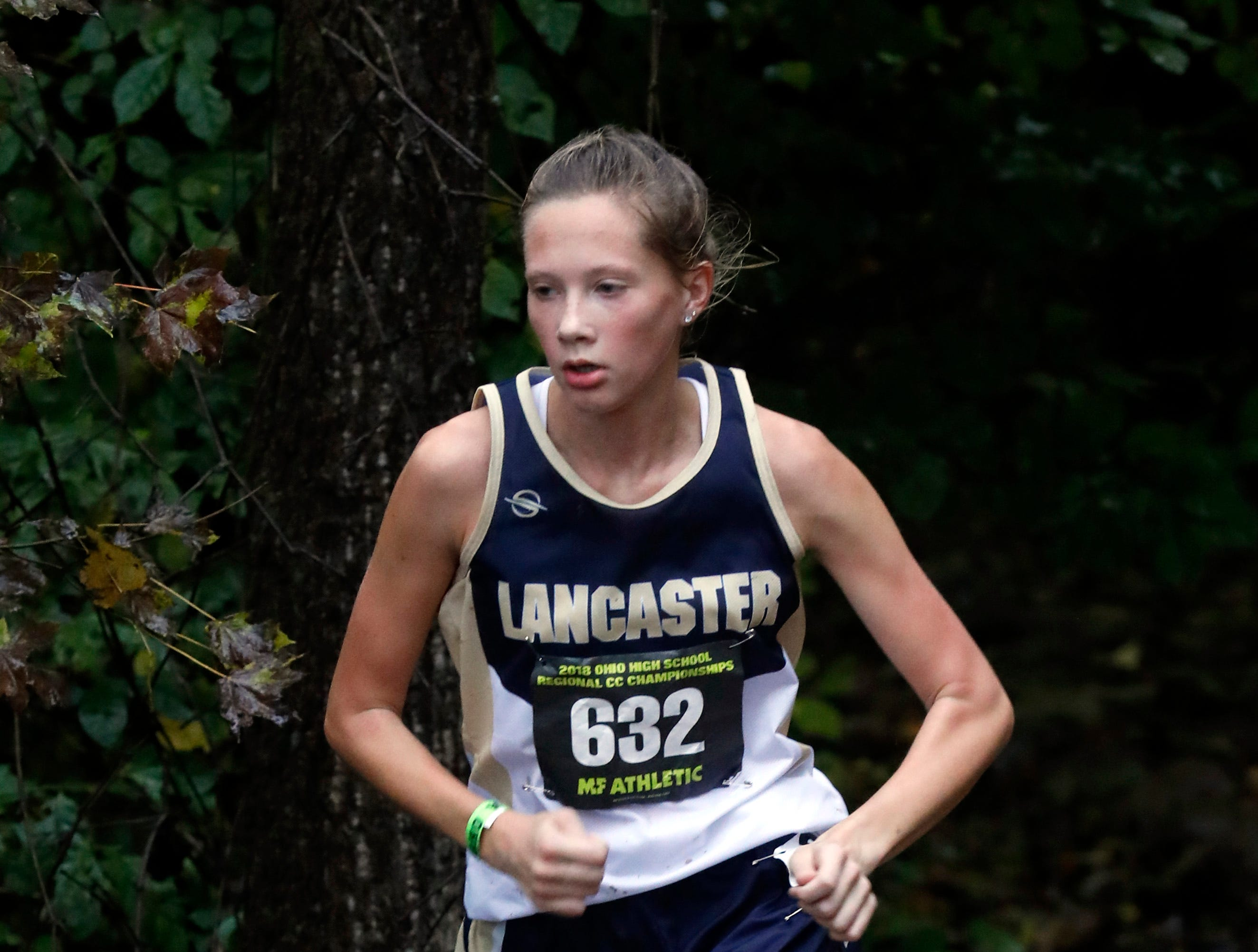 Lancaster's Sarah Craft runs in the Regional Cross Country meet Saturday, Oct. 27, 2018, at Pickerington North High School in Pickerington.