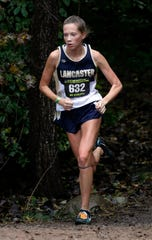 Lancaster's Sarah Craft runs in the Regional Cross Country meet Saturday, Oct. 27, 2018, at Pickerington North High School in Pickerington.