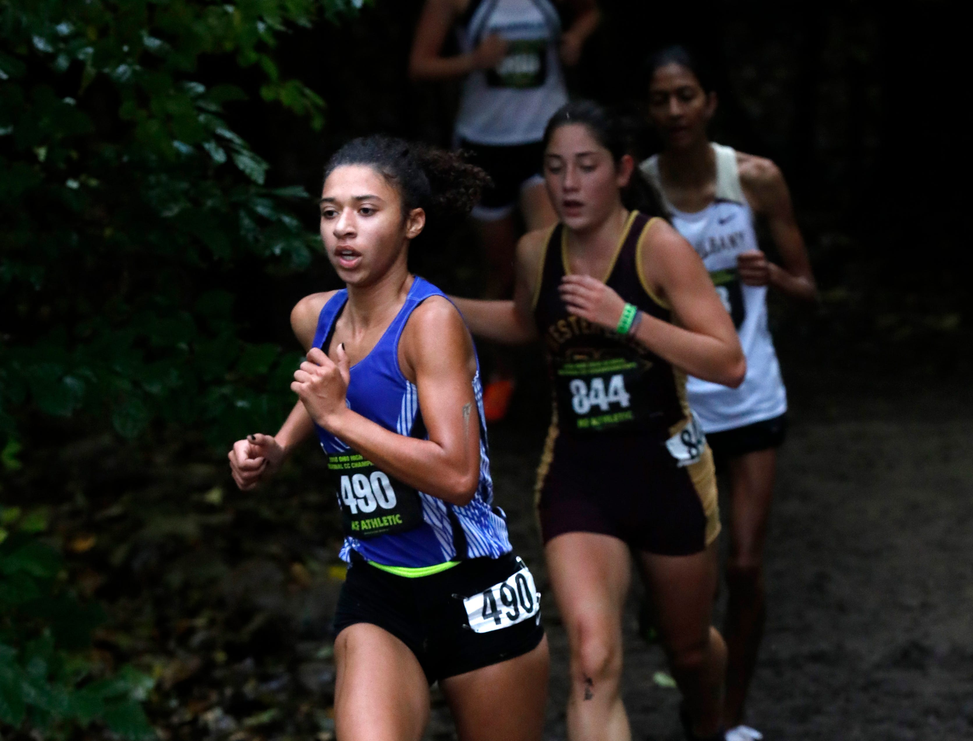 Chillicothe's Danielle Fleurima runs in the Regional Cross Country meet Saturday, Oct. 27, 2018, at Pickerington North High School in Pickerington.