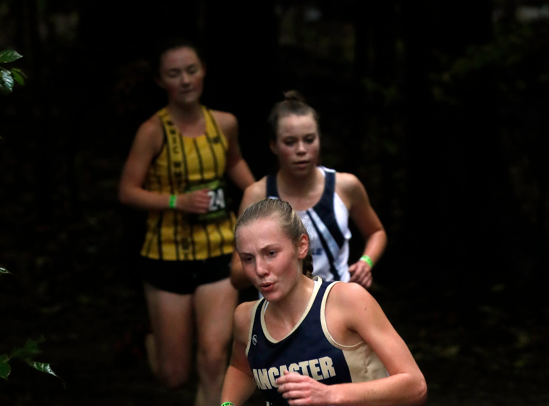Lancaster's Elise Johnson runs in the Regional Cross Country meet Saturday, Oct. 27, 2018, at Pickerington North High School in Pickerington.
