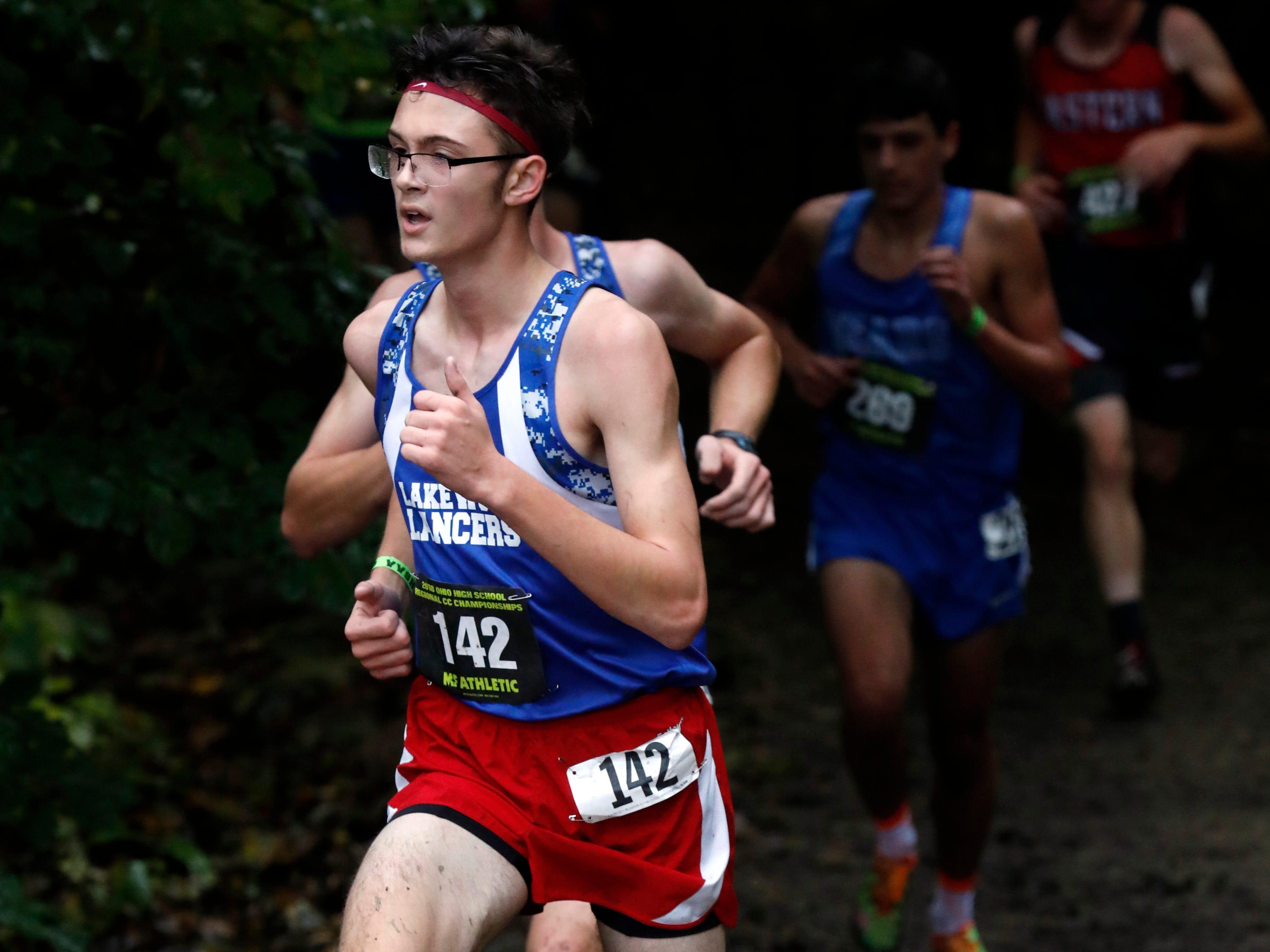 Lakewood's Jonathon Holbrook runs in the Regional Cross Country meet Saturday, Oct. 27, 2018, at Pickerington North High School in Pickerington.