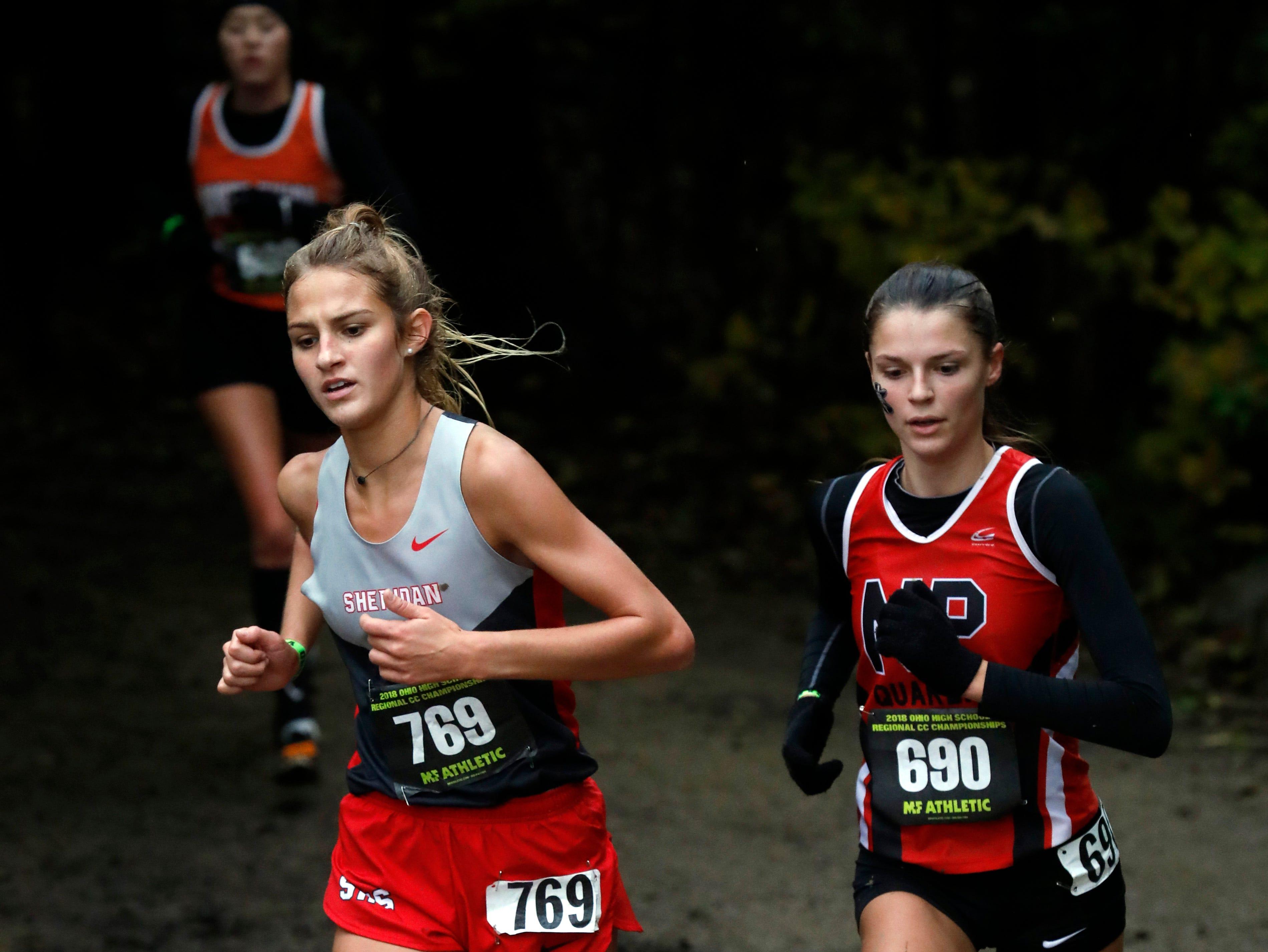 Sheridan's Emily Heath runs in the Regional Cross Country meet Saturday, Oct. 27, 2018, at Pickerington North High School in Pickerington.