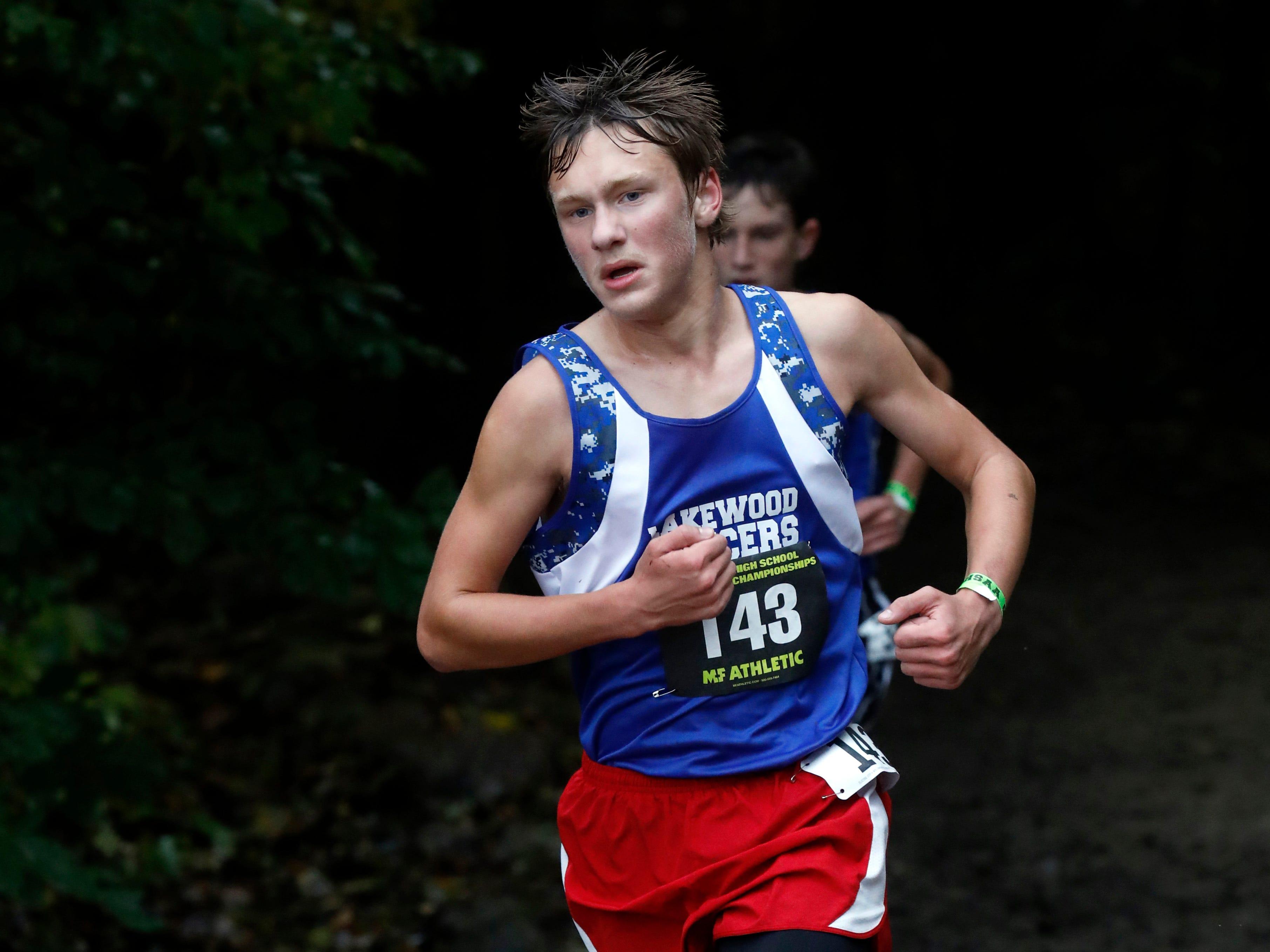 Lakewood's Mason Pound runs in the Regional Cross Country meet Saturday, Oct. 27, 2018, at Pickerington North High School in Pickerington.