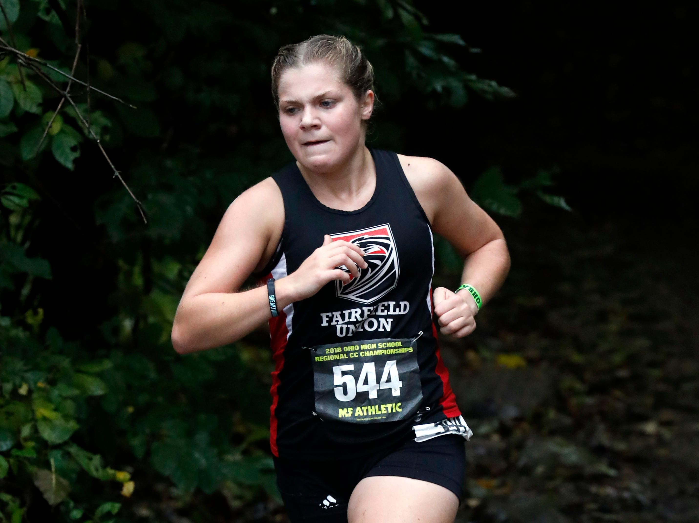 Fairfield Union's Dorothy King runs in the Regional Cross Country meet Saturday, Oct. 27, 2018, at Pickerington North High School in Pickerington.