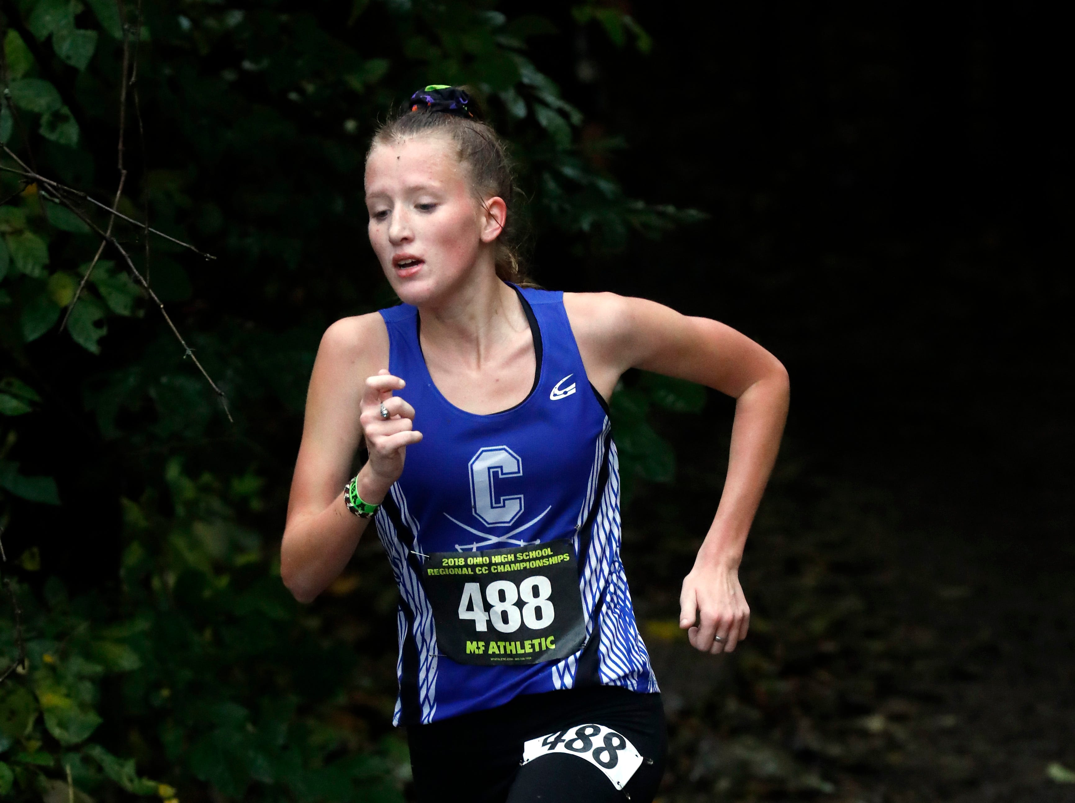 Chillicothe's Ella Cuzzolini runs in the Regional Cross Country meet Saturday, Oct. 27, 2018, at Pickerington North High School in Pickerington.