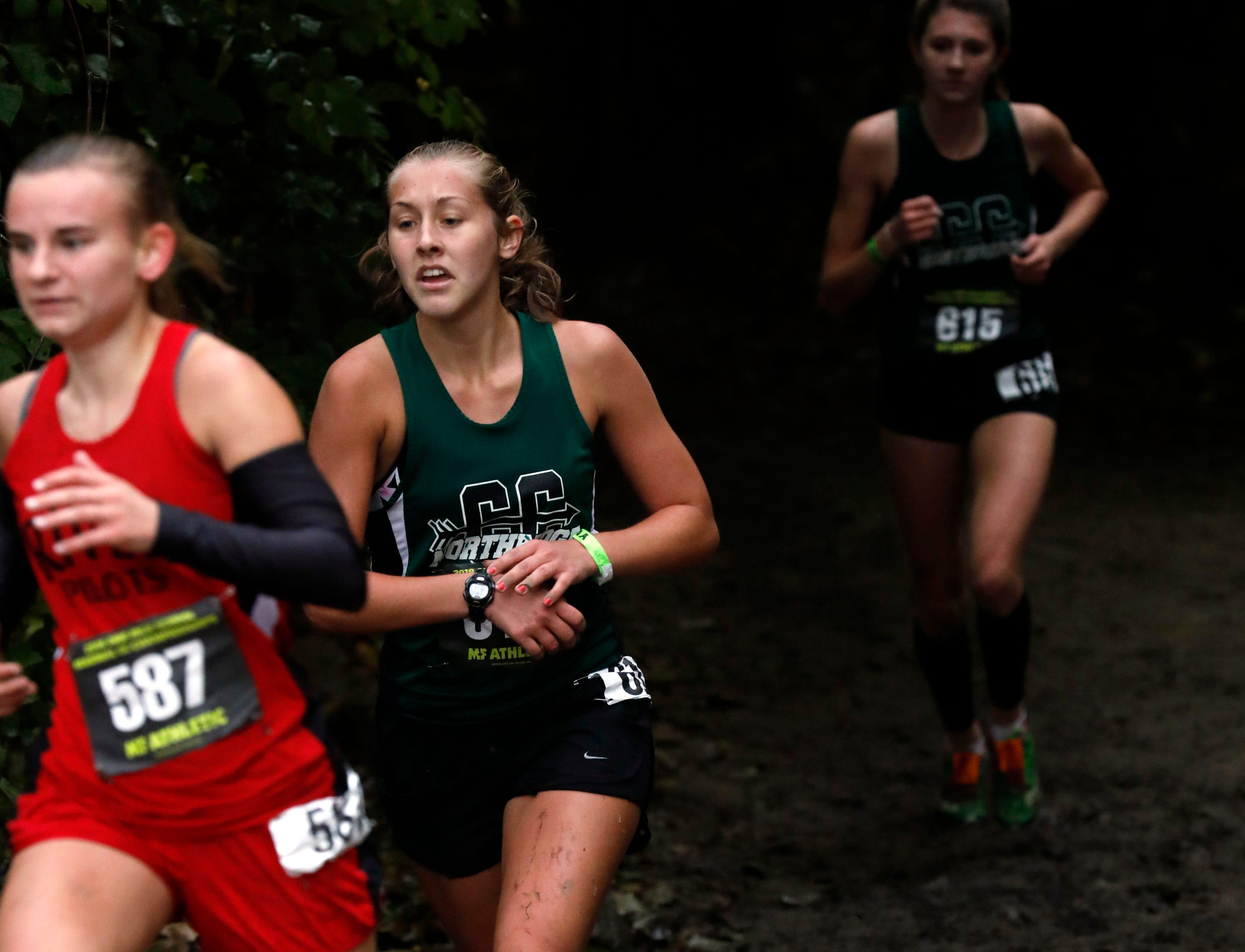 Northridge's Megan King runs in the Regional Cross Country meet Saturday, Oct. 27, 2018, at Pickerington North High School in Pickerington.