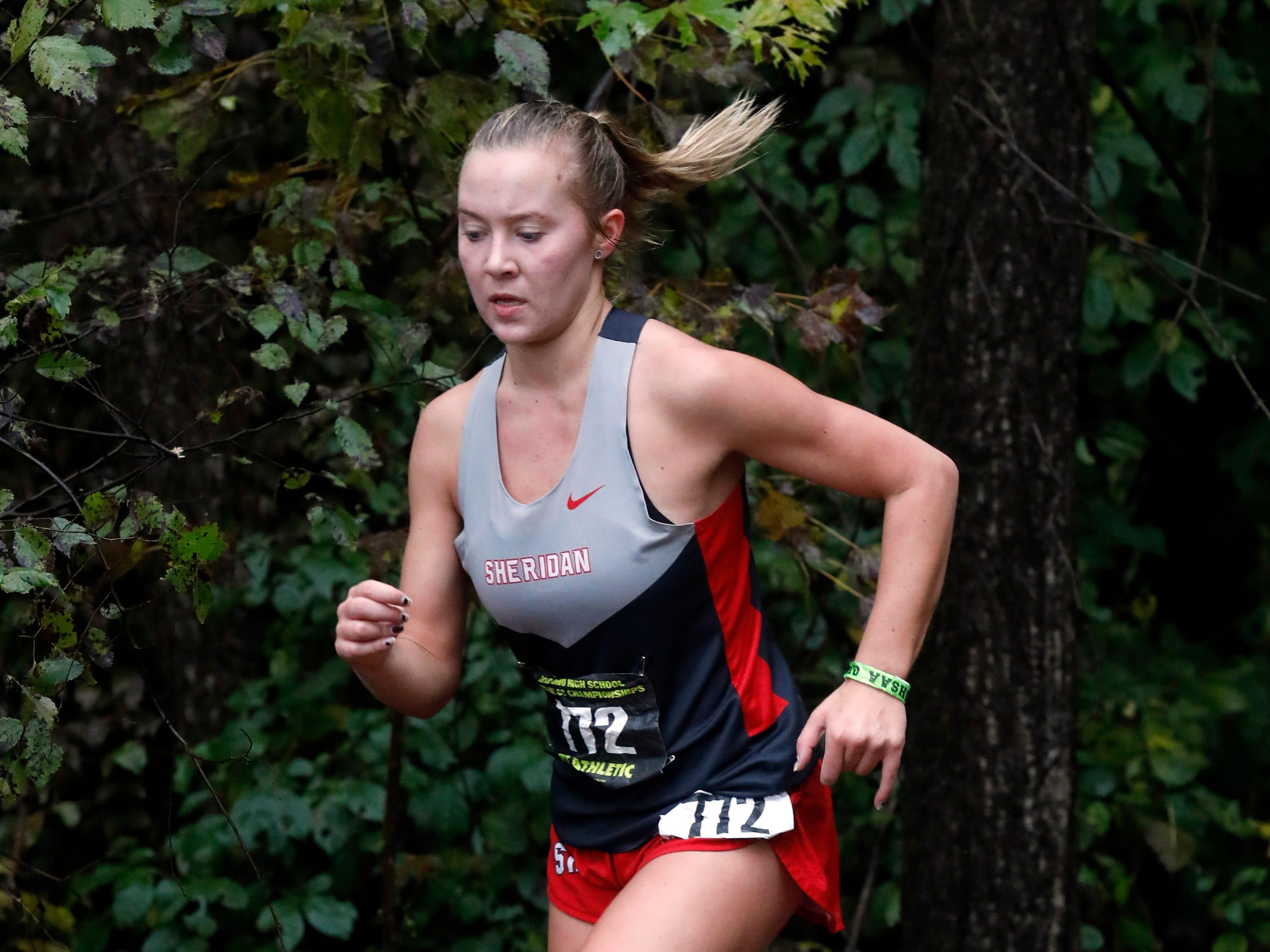 Sheridan's Sarah Snider runs in the Regional Cross Country meet Saturday, Oct. 27, 2018, at Pickerington North High School in Pickerington.
